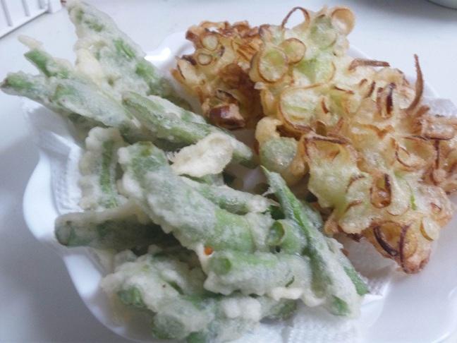 インゲンと葱のかき揚げ